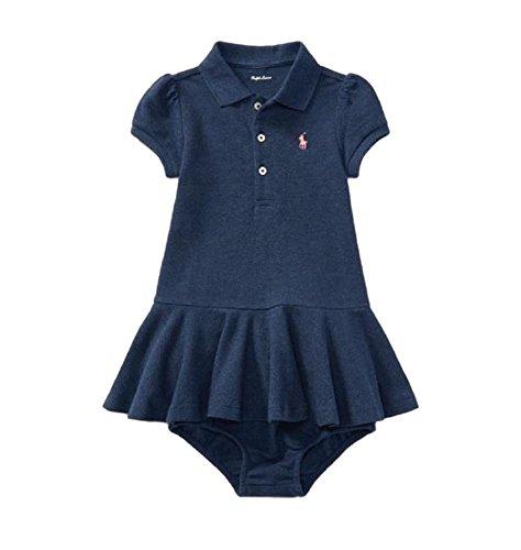 Ralph Lauren Infant Dresses (RALPH LAUREN Baby Girls Dress & Bloomer Set Short Sleeve Cotton (Indigo Blue Heather, 3 Months))