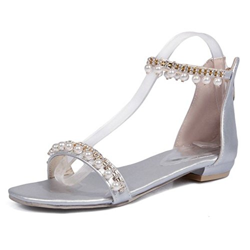 Sandales Mode Coolcept Eclair Femmes Talons Bas Silver Fermeture AwazqTFa