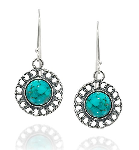 Graceful Women's Jewelry Round 925 Sterling Silver Reconstituted Turquoise Earrings with Filigree Hearts