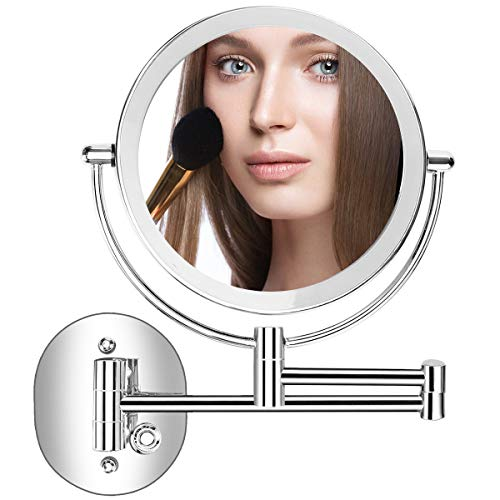 Servineart 1X 10X Magnifying Double Sided Vanity Makeup Mirror with Light and Touch Dimmer, 7.87 inch, Wall Mount, Round, Chrome