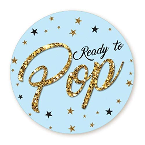 Ready to Pop Stickers | Faux Glitter | Ready To Pop Baby Shower Stickers for Popcorn | Ready to Pop Stickers for Boy and Girl (Blue, 1.67