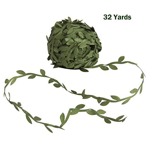 SBYURE 32 Yards Olive Green Leaves Leaf Trim Ribbon for DIY Craft Party Wedding Home Decoration, Wreath Party Wedding Wall
