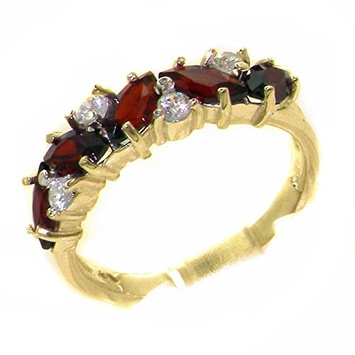 Ring Natural Gold Garnet 14k (14k Yellow Gold Natural Garnet & Diamond Womens Eternity Ring (0.14 cttw, H-I Color, I2-I3 Clarity))