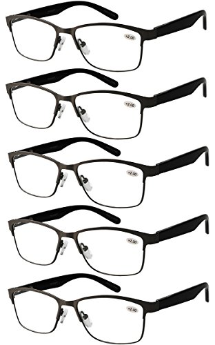 Eyecedar 5-Pack Reading Glasses Men Rectangle Frame Spring Hinges ...