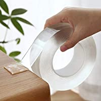 St. Lun Nano Double Sided Tape Reusable/Clear Sticky Adhesive Non-Slip Mounting Tape Heavy Duty for Home/Office Fix Carpet Mats,Length X Width:100CMX3CM,Thickness:0.2CM