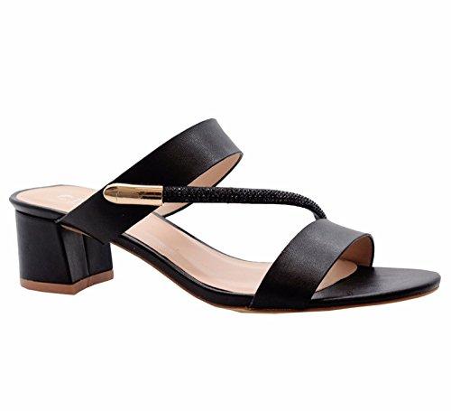 Señoras Medio Bloquear Tacones Abierto Dedo del pie Diamante Strappy Fiesta Sandalias tamaño 36-41 NEGRO