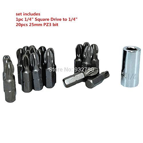Meka-supplies - 20pcs 25mm PH2/PZ1/PZ2/PZ3 POZI Screwdriver Insert Bits + 1/4