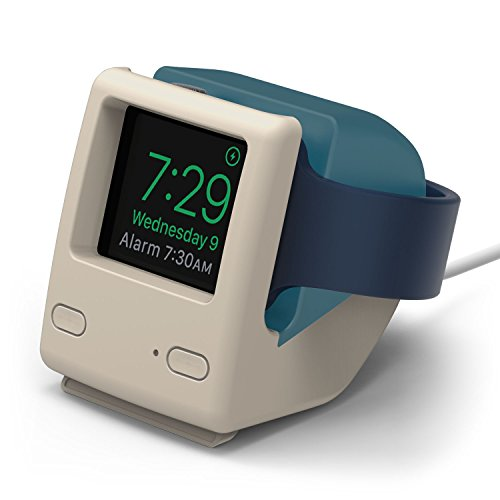- elago W4 Stand for Apple Watch Series 4 / Series 3 / Series 2 / Series 1 / 44mm / 42mm / 40mm / 38mm [Nightstand Mode][Vintage 1998 Design][Patent Pending] -Aqua Blue