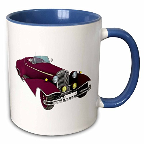 3dRose Boehm Graphics Car - Maroon Classic Convertible Car - 15oz Two-Tone Blue Mug (mug_218631_11)
