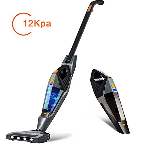 Cordless Vacuum, Hikeren 12Kpa Powerful Suction Lightweight Stick Handheld Vacuum Cleaner for Home Hard Floor Carpet Car Pet with Led Light&HEPA Filter