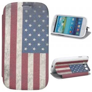 PU Leather and Plastic Simple Serious Protective Case with US Flag Pattern for Samsung i9300