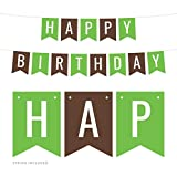 Andaz Press Hanging Pennant Banner Party Decorations, Kiwi Green, Brown, Happy Birthday, 1-Pack, Approx. 5-Feet, Woodland Animals Theme