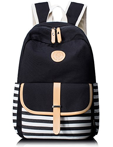 Leaper Cute Thickened Canvas School Backpack Laptop Bag Shoulder Daypack Handbag (L, Black1)
