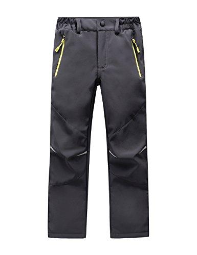 LANBAOSI Kids Boys Girls Waterproof Outdoor Hiking Pants Warm Fleece Lined Gray 6