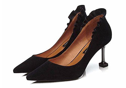 De De Trabajo Encaje De Zapatos La Black De Zapatos Moda Tacón Banquete Hoja En De Mujer MUYII Zapatos Alto Cuero De De Loto De De Punta La Z6qnwpI