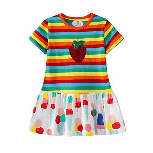 Cute Easter Gift - Eocom Little Girls Soft Summer Cotton Short Sleeve Dresses T-Shirt Casual Cartoon Dress (Colorful Stripe, 7T)