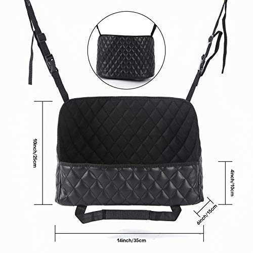 Between Seat Car Organizers Storage Bag - Car Purse Handbag Holder Waterproof PU Leather Seat Back Organizer,Black