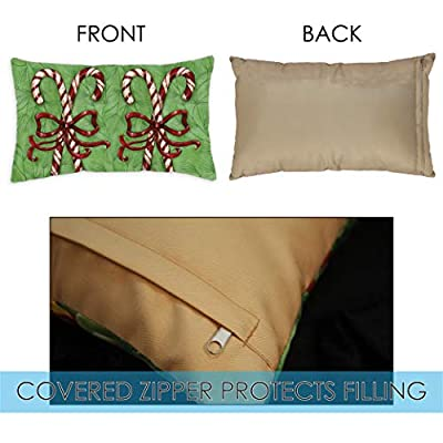 Toland Home Garden 731308 Candy Cane Welcome 12 x 19 inch Indoor/Outdoor, Pillow with Insert (2-Pack) : Garden & Outdoor