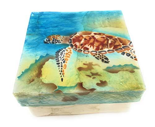 Kubla Craft Underwater Sea Turtle Capiz Shell Keepsake Box, 4 Inches ()