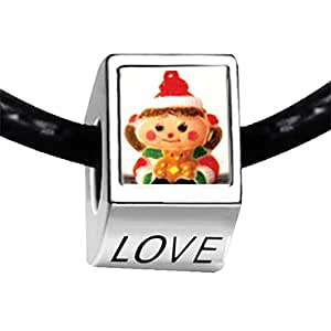 Chicforest Silver Plated Christmas Doll Red Photo LOVE Charm Beads Fit Pandora Chamilia Biagi Charm Bracelet