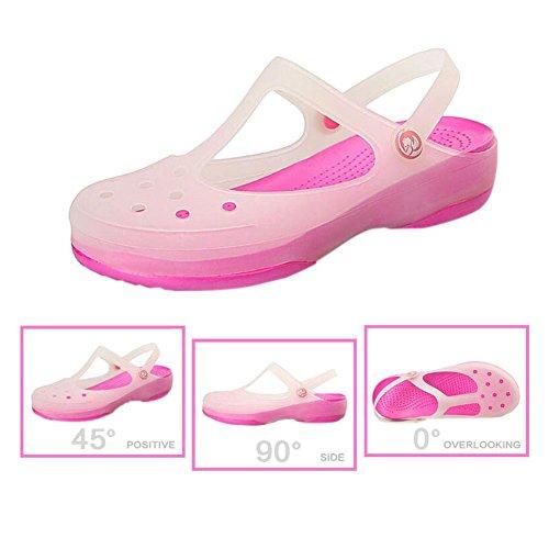 Womens Rain Hole Shoes Color Ladies Shoes Breathable Rainboots Summer Haodasi Sandals Soft Boots Beach Jelly Non Change Flat Rose slip Shoes pqzwScC