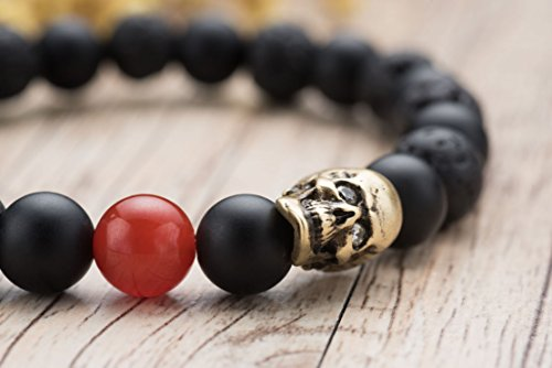 Karseer Skull Charm Black Matte Onyx and Lava Energy Stone Beaded Stretch Bracelet Jewelry Birthday Gift