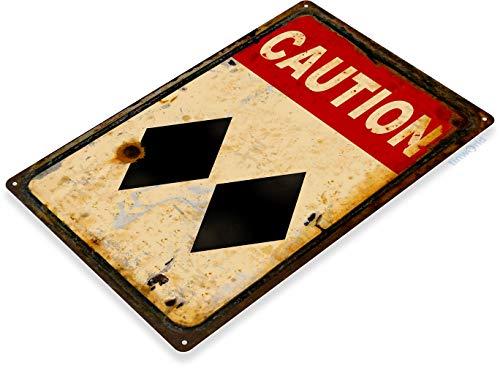Tinworld Tin Sign Caution Double Diamond Ski Slopes Lift Lodge Rresort Expert Warning Metal Sign Decor B920