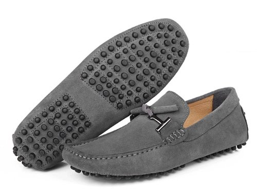 HAPPYSHOP(TM) Suede Leather Mens Moccasin Comfort SLIP 0N Tassel Loafer Driving shoes Grey1 XjaJQBf