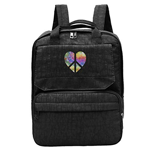 Glitter Rainbow Heart Peace Sign Unisex Travel Backpack Adjustable Shoulders Bags For ()