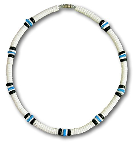Native Treasure - 22 inch Mens White Clam Heishe Puka Shell Necklace Blue Chip 2 Black Coco Surfer Beach Necklace - 8mm (5/16