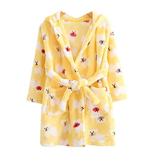ECHERY Boys Girls Hooded Pajamas Soft Coral Fleece Bathrobe Unisex ...