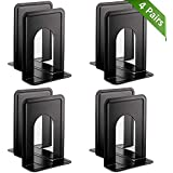 MROCO Universal Premium Bookends, Non-Skid, Heavy Duty Metal Book Ends for Shelves, Book Support, Book Stopper for Books, Movies, Magazines, Video Games, 6 x 4.6 x 6 inches, Black, 4 Pairs/8 Pieces