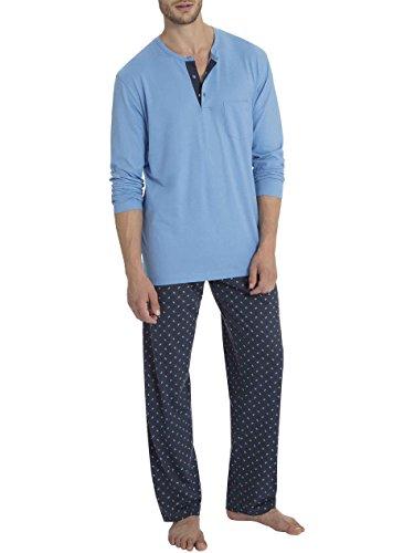 Calida Pajama - Calida Mens 100% Single Jersey Cotton Pajamas Set Rick 45660/452 (452, Medium)