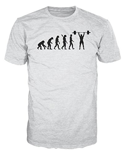 Dalesbury Weightlifting Evolution Funny T-Shirt (M, Ash Grey) - Evolution Ash Grey T-shirt