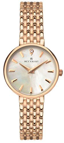 Accurist Ladies Analogue Quartz Watch With Mother Of Pearl Dial And Rose Gold Plated Bracelet 8182