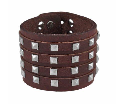 Pyramid Studded Wristband - Zeckos Brown Leather 4 Row Pyramid Studded Wristband Bracelet
