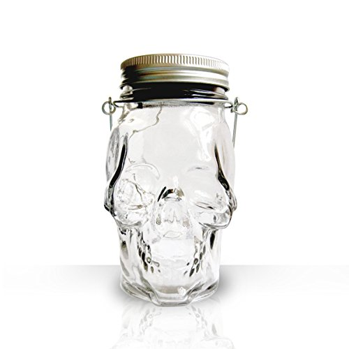 ASSIS Happy Halloween Portable Skull Lights Solar Glass Jar —Light up Scary Skeleton Halloween Prop Decoration Lamp Halloween Lanterns For Sale