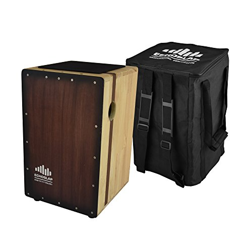 Echoslap Solid Siam Oak Bass Cajon -Vintage Dark, Deep Bass Tones, 3 Snare Wires for Crisp Buzz