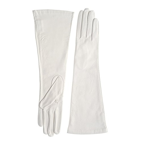 Silk Lined Long Black or White Leather Gloves (WHITE-SMALL) by Go Gloves