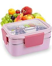 LxwSin Eco Lunchbox Bento, roestvrij dubbele bento dozen, lekvrije Japanse Bento Box voedselisolatie opbergdoos met verstelbaar vak, bento tas, salade sandwichbox voor magnetron vaatwasser