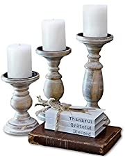 Candle Holders For Pillar Candles, Candle Holders For Table Centerpiece, Pillar Candle Holders Set Of 3, Wood Candle Holders, Rustic Pillar Candle Holder, Farmhouse Candle Holders For Fireplace(White)
