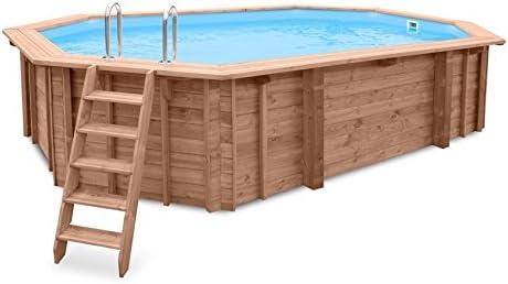 Piscina de jardín Sea Breeze para empotrar en suelo o para colocar sobre superficies, de madera, alargada, 6, 07 x 3, 96 x 131 m, con bomba, escalera y skimmer: Amazon.es: Jardín