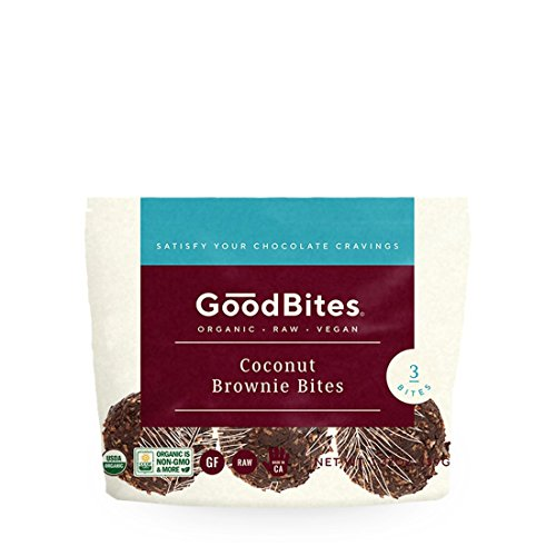 GoodBites Raw Vegan Coconut Brownie Bites - 1.3 ounce Packs - Case of 12 by Goodbites