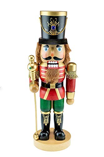 (Clever Creations Traditional Functioning Wood Nutcracker | Nutcracker That Actually Cracks Nuts of Wood | Festive Christmas Decor | Measures 17