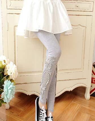 Price comparison product image BATOP Leggings for Women / s- 7XL Leggings Women Cotton lace Decoration Leggings 2019 Leggins Plus Size Long Leggings Size 7XL 4XL 3XL XXL XL l m s 6XL 5XL( Grey suye - 4XL)