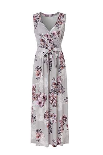 (BEAUTIFUL-LIFE Summer Dresses Summer Dresses for Women Maxi Dresses Maxi Dresses (X-Large, Gray) )