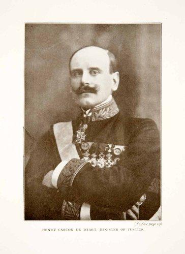 Count Carton (1914 Print Portrait Henri Victor Marie Ghislain Count Carton Wiart Belgium Medal - Original Halftone Print)