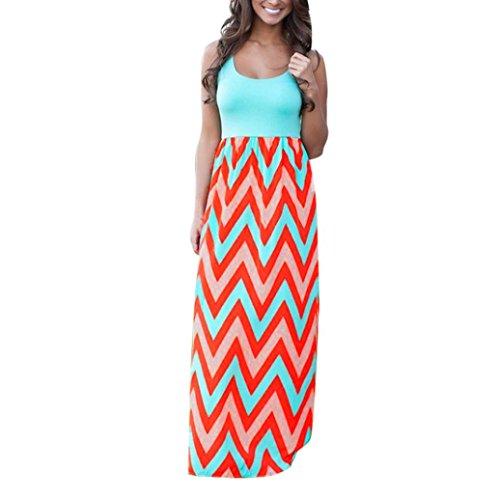 UOKNICE Women Boho Summer Striped Color Sleeveless Long Beach Maxi Dress Blue