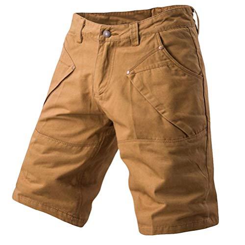 WUAI Men's Casual Fashion Lightweight With Pocket Regular Fit Beach Work Cargo Shorts(Khaki,Size 38)