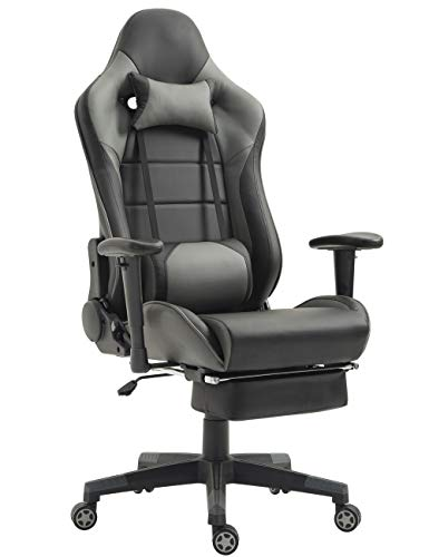 Gaming Chair Computer Game Chair Racing Office Chairs Ergonomic Backrest and Seat Height Adjustment Recliner Swivel Rocker with Headrest and Lumbar Pillow E-Sports Chair (Grey/Black)